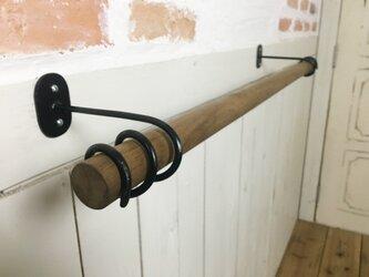 アンティーク調 天然木製 チーク無垢材 特大 タオルハンガー デザイン鉄継手 W80cmの画像