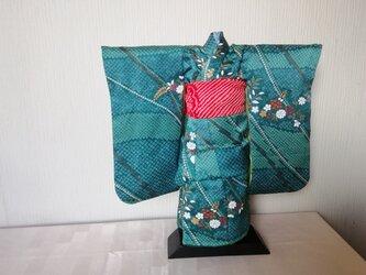 ♪市松人形の着物15号サイズブルーグリーン99の画像