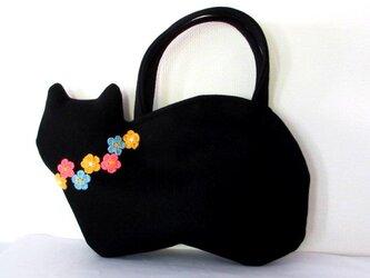 【冬の新作】お花モチーフ ウールの黒猫バッグAの画像