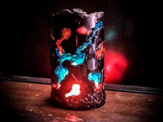 アイアン アロマ キャンドルホルダー ステンドグラス風 の画像