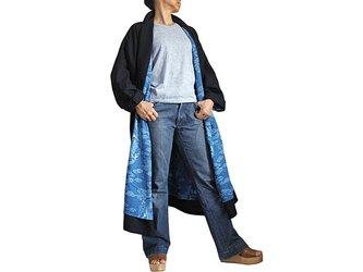 ジョムトン手織り綿和風コート龍柄インディゴ綿布裏地付き(JFS-162-01)の画像