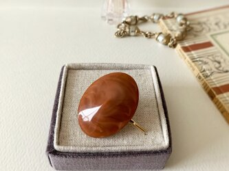 Japan vintage oval button  pony hook(orange)の画像