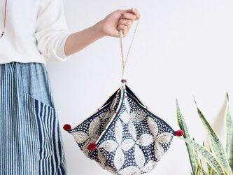 総手刺繍*刺し子のヘンプカノムジープバッグ【大花生成りひも】の画像