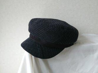 魅せる帽子☆ペンシルストライプのキャスケット~モノトーンの画像