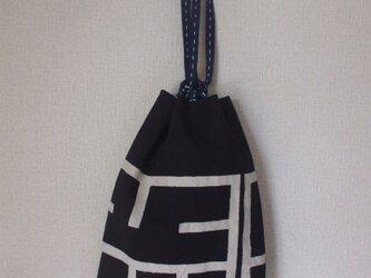 袢纏と歌舞伎の絵柄の信玄袋の画像