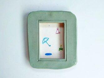「雨のち晴れ」イラスト原画 ※陶器の額縁入りの画像