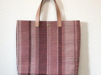 裂き織り トートバッグ(やたら縞)ヌメ革持ち手の画像