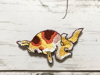 手刺繍浮世絵ブローチ*歌川国芳「金魚づくし 百ものがたり」よりの画像