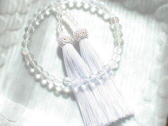 【数珠袋付き】京都オパールと水晶の数珠・略式念珠/白房の画像