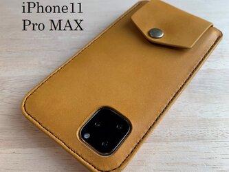 【新作】iPhone11 Pro MAXカバー ケース 【名入れ・選べる革とステッチ】の画像