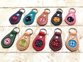 レザー キーホルダー 沖縄織物 お守り ミンサー柄刻印の画像