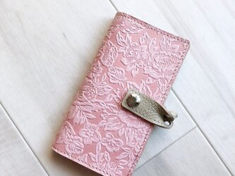 『 iPhone11,11Pro対応開始』左右利き両対応 iPhoneXR/XS/X/8/7 花柄ローズ ピンクの画像