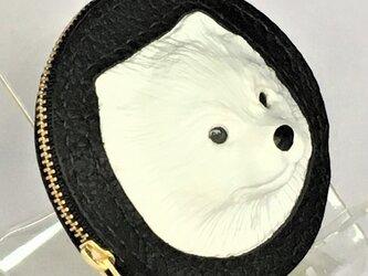 ポメラニアンの本革コインケース(ホワイト)の画像