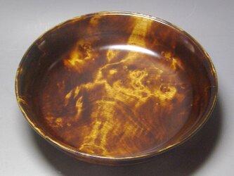 栃斑杢蘇芳染盛器  ガラスコート仕上げの画像