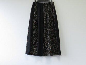 *アンティーク着物*小花と流線模様着物のパッチスカート・スヌードセット(裏地つき)の画像