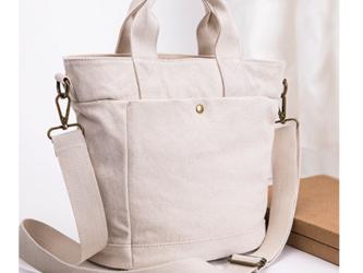【0031】上品2Way トートバッグ ポケットたくさん  キャンバス 帆布バッグ チャック付きトートバッグ 旅行バッグの画像