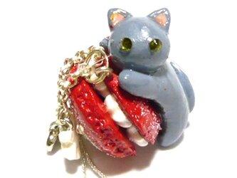 にゃんこのしっぽ○クリスマスカラーのスノーマカロン〇ロシアンブルー〇猫の画像
