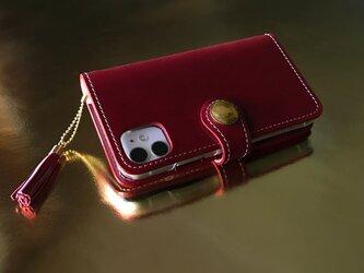 【受注作製】馬ヌメの iPhoneケース(多機種対応・手帳型)の画像