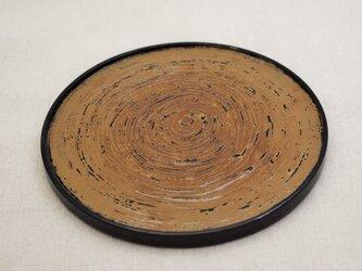 丸皿 綿糸巻黒漆白漆研出の画像