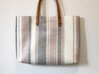 裂き織り トートバッグ(やたら縞)本革持ち手 の画像