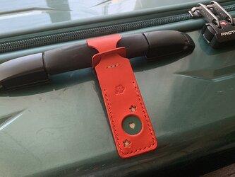 スーツケースが見つけやすい目印ネームタグ 星とハート Red トラベル革小物 ラッピング可の画像