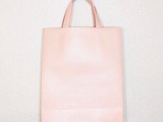 豚革 ピンク 紙袋型 ショッピングバッグ トートバッグの画像