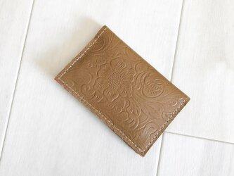 もちやわレザー カードケース 本革 レザー 花柄 ローズ キャメル 名刺入れ パスケースの画像
