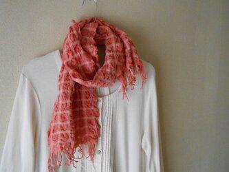 もこもこミニマフラー 手紡ぎ手織り シルク・ラムウール ピンクの画像