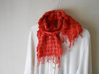 もこもこミニマフラー 手紡ぎ手織り シルク・ラムウール オレンジの画像