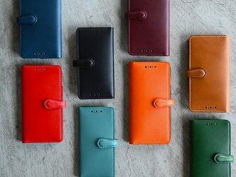 【カラーオーダー】ブッテーロのiPhone手帳型カバー ボタン式iPhone12mini SE 8/8s 7/7s等の画像