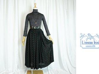 レトロジョーゼットのギャザースカート ロング丈の画像