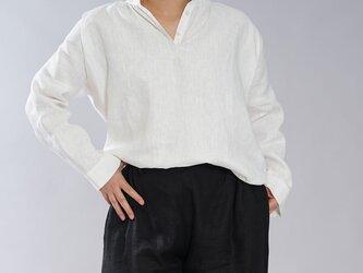 【wafu】中厚 リネン ブラウス スタンドカラー 長袖 シャツ チュニック / ホワイト【M-L】t005b-wht2の画像