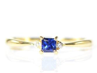 K18 ブルーサファイア×ダイヤモンド リング  K18イエローゴールド  YK-BL006CIの画像