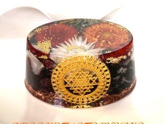 ○ 富を司るシュリヤントラ 金運 邪気払い 健康 高波動ケオン 幸運メモリーオイル入り オーバル型 オルゴナイトの画像