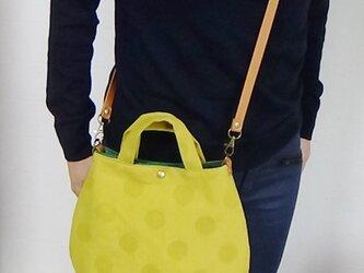綿麻ドットジャガード  秋色 雫型お洒落トートバッグの画像