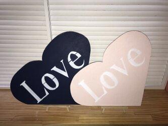 wood sign 「Love」ウッドサイン「Love」イーゼル付き ピンク ブルー 2個セットの画像