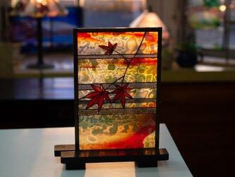 「紅葉のパネル」ステンドグラス・もみじの画像