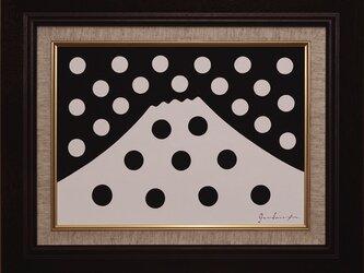 ●【雪のドット&白富士】○がんどうあつし肉筆絵画アクリルF4ブラウン額付冬富士山の画像