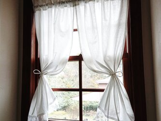 ホワイトコットン両開きカフェカーテン(リボン付き)の画像