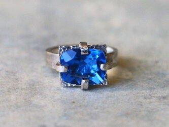 古代スタイル*天然ブルーフローライト カラーチェンジ 指輪*8号 SVの画像