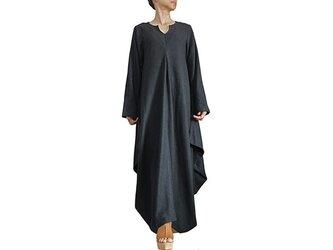 柔らかヘンプのドレープドレス ロングスリーブ(DNN-098-01)の画像