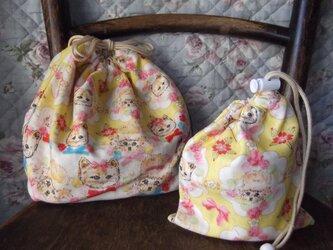 【入園準備】猫とプードルのお弁当袋とコップ入れの画像