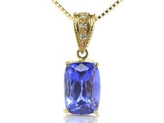 K18  タンザナイト 鑑別証付き ×ダイヤモンド K18イエローゴールド ペンダント トップ YK-BJ045CIの画像