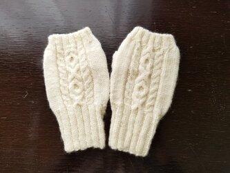 手紡ぎ毛糸のハンドウォーマーの画像