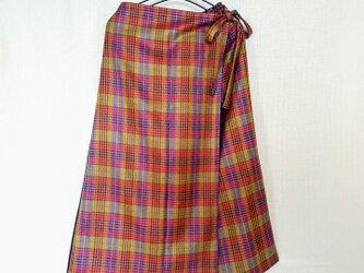 昭和レトロ 洋服屋さんの生地で作った ラップスカート風 ワイドパンツ タータンチェックの画像