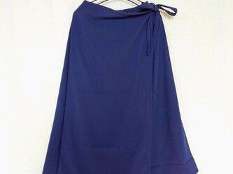 昭和レトロ 洋服屋さんの生地で作った ラップスカート風 ワイドパンツ あおの画像