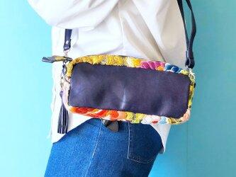 リズ 2WAYバッグ ショルダー/クラッチ 本革 バイオレット & 唐織 花柄の画像