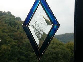 ステンドグラス サンキャッチャー青緑2の画像