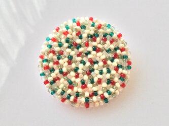 丸ブローチ (小) クリスマス色の画像