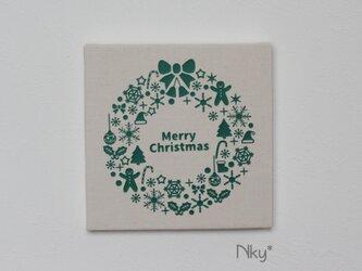 クリスマスリースのファブリックパネル M-502◆生成/緑の画像